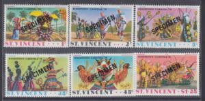 St. Vincent Sc 457 var-462 var MNH 1976 Carnival w/ Specimen Overprints