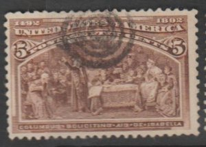 U.S. Scott #234 Chocolate Columbian Stamp - Used Single