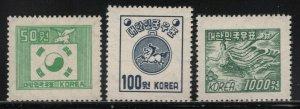 Korea 1952 Definitives perf 12½ set Sc# 187D-89 NH