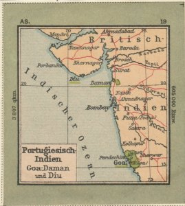 Germany Schaubek Poster Stamp PORTUGUESE INDIES Map A6104