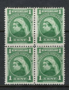 Newfoundland #80a Mint Fine Block - Bottom Stamps Never Hinged Top Hinged