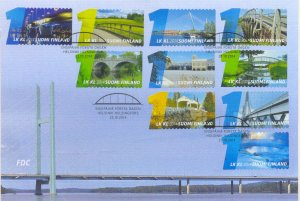 2014 FINLAND  - SG: 2235/44 - BRIDGES -  ON FIRST DAY COVER
