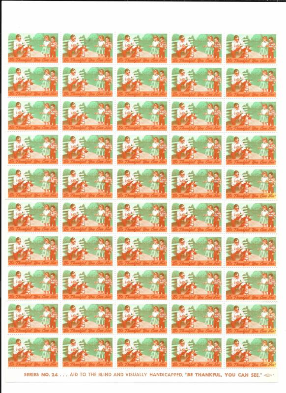 Blind Charity Cinderella Seals 50 MNH Stamps Series 24 Be Thankful You Can See