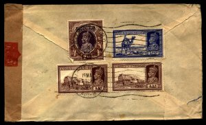 India 1941 Censored Airmail cover to Newark, new Jersey