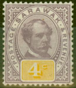 Sarawak 1888 4c Purple & Yellow SG11 Fine Mtd Mint