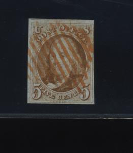 Scott 1 Franklin Imperf Used Stamp  (Stock 1-194)