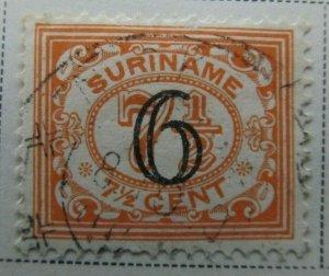 Surinam 1930 surch 6c on 7 1/2c Fine Used A13P9F945