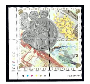 Singapore 644a MNH 1992 Currency and Coins block of 4    (KA)