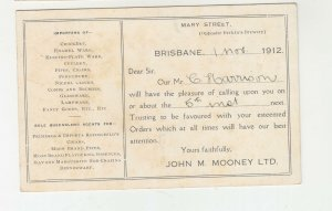 QUEENSLAND, Postal Card PTPO. 1912 1d. Red, JOHN M. MOONEY, Ltd., Brisbane