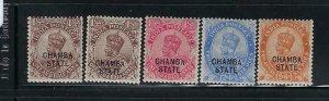 INDIA-CHAMBA- SCOTT #45-49 1922-27  OVERPRINTS MINT LIGHT HINGED