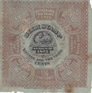 Beer Tax Stamp, Sc #REA 31, 1875, Minor Stains (25051)