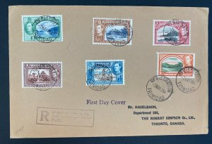 1938 Trinidad & Tobago First Day Registered Cover FDC To Toronto Canada