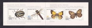 Portugal Azores  #349a-352a  MNH 1985  insects  booklet  moth  beetle butterfly