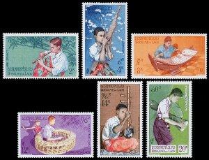 Laos Scott 34-36, C24-C25 (1957) Mint NH VF Complete Set W