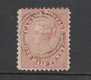 Canada Sc 11 used. 1858 ½p rose QV on wove paper, sound, well centered, CERT