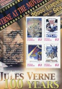 Antigua & Barbuda Jules Verne Stamps 2005 MNH Film Movie Posters Writers 4v M/S