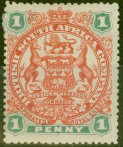 Rhodesia 1897 1d Scarlet & Emerald SG67 Fine Mtd Mint