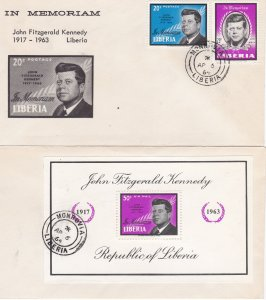 Liberia # 414, C160, C161, John F. Kennedy Memorial Issues, First Day Cover