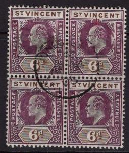 ST.VINCENT SG89 1905 6d DULL PURPLE & BROWN FINE USED BLOCK OF 4