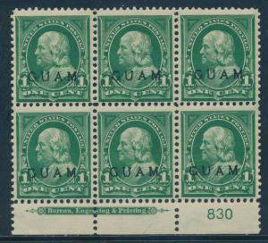 GUAM #1 1c 1899 BOTTOM PLATE BLOCK VF OG NH CV $350++ BU8783