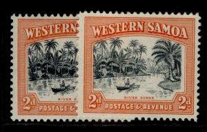 SAMOA GV SG182 + 182b, 2d PERF VARIETIES, M MINT.