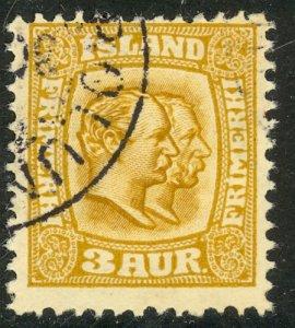 ICELAND 1915-18 3a Christian IX and Frederik VIII Portrait Issue Sc 100 VFU
