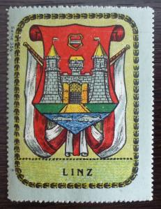 GERMANY-AUSTRIA-LINZ-POSTER STAMP-FLAG R! coat of arm crest castle J15