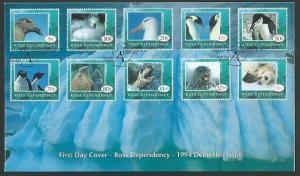 ROSS DEPENDENCY NZ 1994 Antarctic wildlife definitive set FDC..............60612