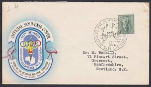 AUSTRALIA 1956 Olympic Games cover commem cancel OLYMPIC VILLAGE...........54065
