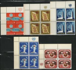 UN NY MNH Scott # 146-148, 166-167 Inscription Blocks (20 Stamps) -3