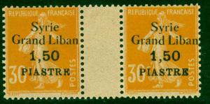 SYRIA 1923 1.50p on 30c SOWER Scott 110 GUTTER PAIR with Stamp Variety MNH