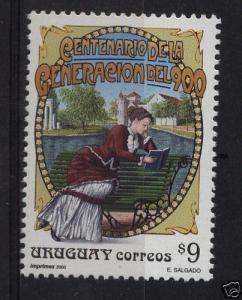 Woman reading in park  art nouveau writers Literature URUGUAY Sc#1869 MNH cv$3