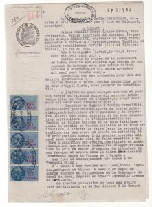 1958 France India Revenue stamps on Letter  Cover Mixed Franking