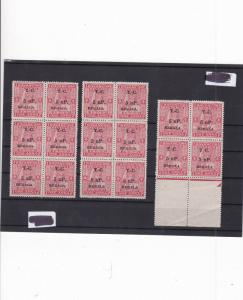travancore kerala overprint stamps part sheet   ref 11315