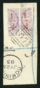 Dominica SG11 1/2 (d) in Red on half a 1d Fine used PAIR on Dated Piece