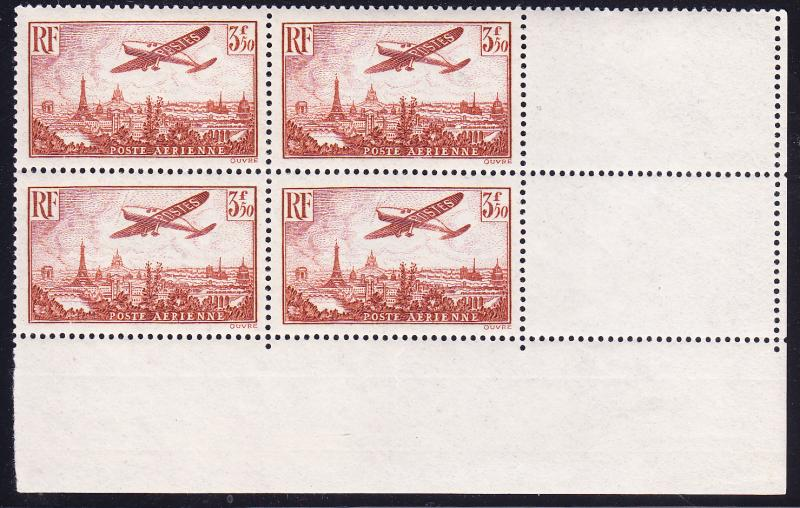 France 1936 3.50francs Airmail VF/NH(**) Block of Four