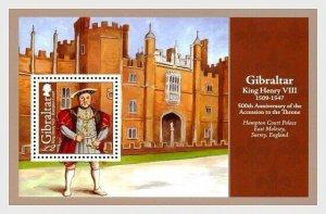 2009   GIBRALTAR  -  SG.MS1315  -  KING HENRY VIII UNMOUNTED MINT MINI SHEET
