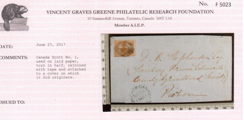 Canada #1 Used Faulty Example On Cover Which Not Mailed On **With Certificate**