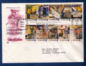 US Sc 1489a FDC Postal Service Employees Issue Block Of (10) Stamps VF