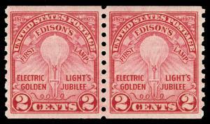 Scott 656 1929 2c Edison Coil Issue Mint Pair VF OG NH Cat $45
