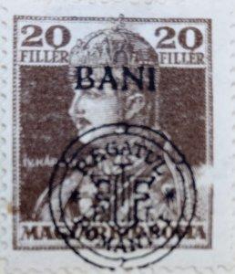 Romania (Magyar Posta Hungary): 1919 : 20F Double Overprint