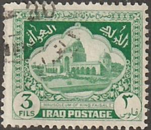 Iraq stamp, Scott# 81, used, 3F, bright green, Mausoleum of KIng Faisal, #81