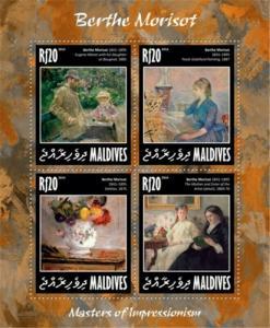 Maldives - 2014 Berthe Morisot - 4 Stamp Sheet - 13E-121