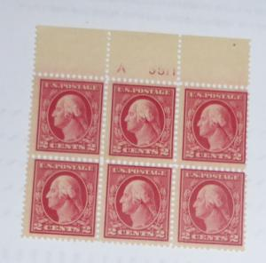 #406 2 cent Washington plate block