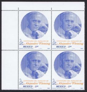 Mexico Sir Alexander Fleming penicillin Corner Block of 4 1981 MNH SG#1599
