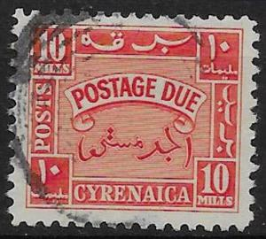 B.O.I.C.-CYRENAICA SGD152 1950 10m ORANGE POSTAGE DUE USED