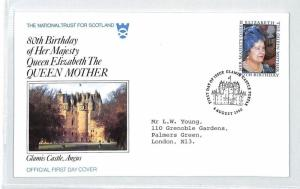 BM306 1980 GB ROYALTY *Glamis Castle* NATIONAL TRUST OFFICIAL FDC Scotland PTS