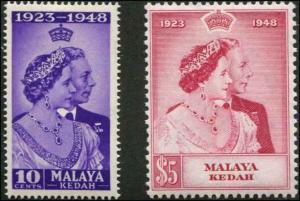 Malaya - Kedah SC# 55-6 SG# 70-1 George VI Silver Wedding Anniv. set MLH