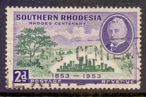 Southern Rhodesia  1953  used 2d. building    Rhodes centenary     #