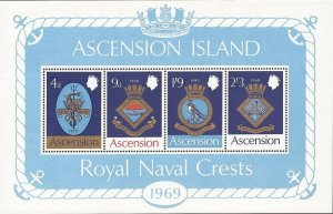 Ascension - 1969 Royal Naval Ships Coats of Arms - 4 Stamp Sheet - Scott #129a
